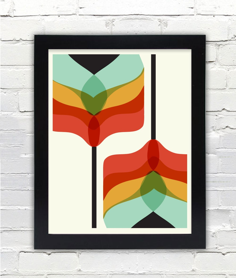 Mid Century Modern Art Falling Flowers Print Gifts Under 25