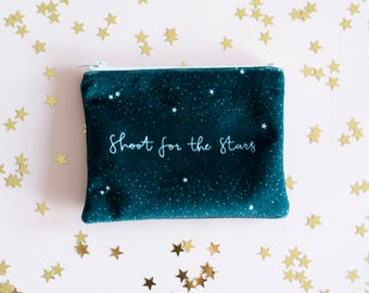 Shoot for the stars purse, Bridesmaid Gift, Star purse, star gift, friend gift, velvet purse, velvet pouch