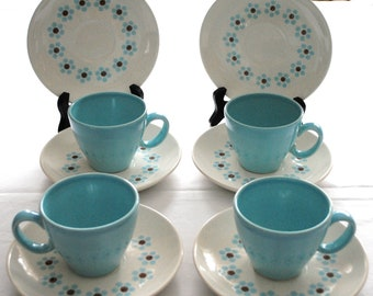 Taylor, Smith & Taylor Arctic Night 4 - Cups and 6  Saucers A Ring of  Blue Flowers with Brown Centers