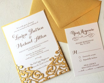 Laser Cut Gold Wedding Invitation, Decorative Pocket Style