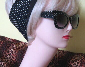 Polka Dot Hair Tie Black and White Rockabilly by Dolly Cool