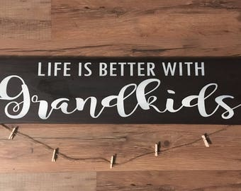 Life is better with grandkids wood sign picture holder