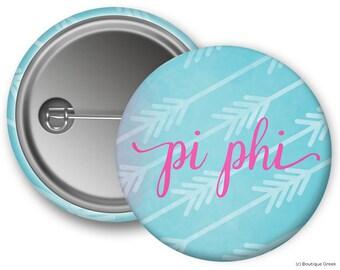 PiPhi Pi Beta Phi Watercolor Arrows Sorority Greek Button