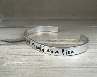 The Righteous Are As Bold As A Lion Proverbs 28:1 Bracelet Scripture Bracelet Hand Stamped Aluminum Brass Copper