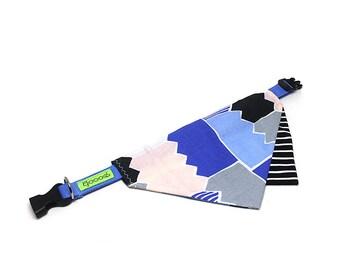 GOOOD Dog Collar (Small Sz)   Overlap Scarf - Puzzle Game   100% Blocks & Blue Cotton Fabric