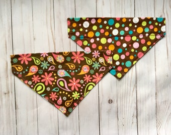 Slide-on Dog Bandana, Brown Paisley and Polka Dot