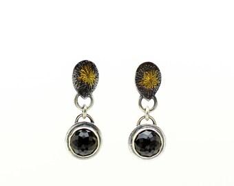 Black Spinel, Gemstone Earrings, Teardrop Earrings, Dangle Earrings, Stud Earrings, Sterling Silver Earrings, Gold Earrings, Flower Earrings