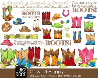 Cowgirl Digital ClipArt / Cowgirl Digital Scrapbooking / Cowgirl Printables
