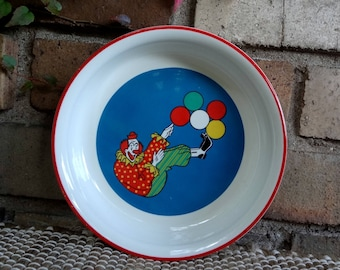 Barnum's Animals Clown Cereal Bowl By Nabisco, Inc. // c. 1970's // Child Bowl // Circus // Clown Balloons
