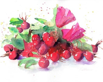 Red Flowers Original Watercolor , 11,7 x 8,3 in. (29,7 x 21 cms.), 140 lb watercolor paper ARCHES cotton 100%.