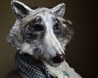 Englishman in New York paper mache raccoon mask raccoon costume