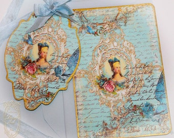 Inkheart Romantique Come Softly Eden Set of Six Double Sided or Folding Glittered, Gold Gilded Edge Cards or Invitations