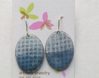 Winter blue enamel earrings with abstract pattern