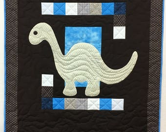 Dinosaur Baby Quilt Blue and Brown
