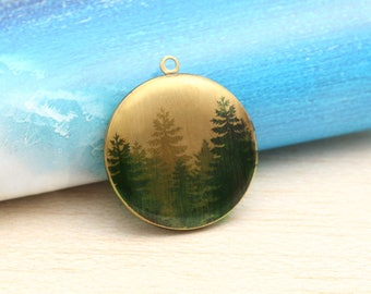 Forest Trees Pine round antique bronze locket 32mm (LD243)