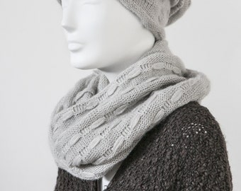 Women's cap,, soft mushroom,,, with ring scarf,,, Made in Italy