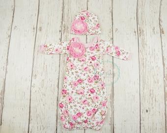 Newborn girl baby gown, newborn girl take home outfit, baby girl gown, christening gown, take home outfit, newborn girl outfit, baby girl