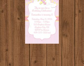 Airplane Baby Invitation, Girls Airplane Birthday, Pink Birthday Girl Invitation, 1st Birthday, Airplane Birthday, Airplane Party