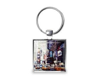 New York Times Square - Glass Photo Keychain - Handmade