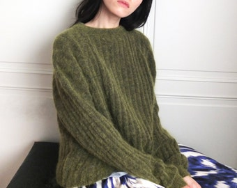 ribbed knit sweater  (olive is out-of-stock other knit pattern/colours available)