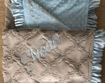 Baby Blanket - Gray Lattice with baby blue bubble