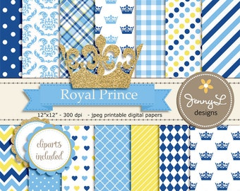 Royal Little Prince Digital papers and Clipart, Gold Crown Baby Shower, Birthday Blue Birth Announcement, Scrapbooking Party Theme