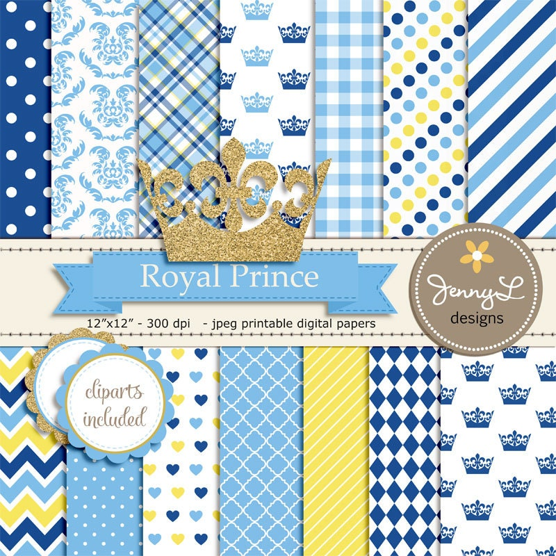 royal little prince digital papers and clipart gold crown 🔎zoom