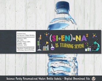Science Party Water Bottle Labels, Boy, Girl, Sticker, Wrapper, Birthday, Mad, Lab, Laboratory, Chalkboard, Experiment, Scientist, Printable