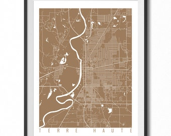 TERRE HAUTE Map Art Print / Indiana Poster / Terre Haute Wall Art Decor / Choose Size and Color