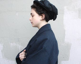 Vintage Edwardian Hat // 1900s 1910s Black Satin and Crepe Bow Ribbon Hat // Pleated Topper Slouch Pancake Hat