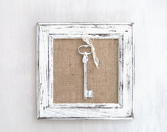 Nice Shabby Chic Key Wall Decor. Distressed Art Frame. Rustic Wall Hanging Decor.  Antique