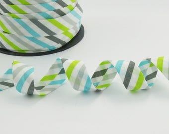 18mm grey, turquoise and lime green cotton bias binding stripes