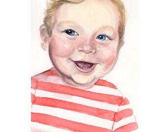 "8""x10"" Custom Watercolor Portrait Illustration"