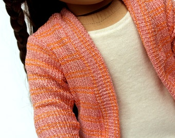 Fits like American Girl Doll Clothes - Salmon Pink Sweater Cardigan | 18 Inch Doll Clothes