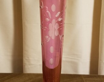 Small Pink Cut Glass Flared Vase