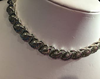 CORO vintage necklace, - rhodium plated - 15 inch plus extension - used  item no VN047