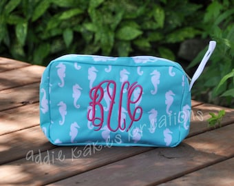Personalized Turquoise and White Seahorse Accessory Bag / Make up Bag / Large Pencil Case