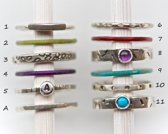 Rustic Stacking Ring / Stack Ring / Stackable Rings / Stack / Gift Idea / Gift / Stacking Ring / Turquoise Ring / Amethyst / Stackable