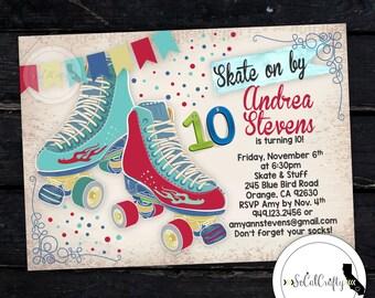Free Roller Skating Birthday Party Invitations ~ Motorcycle birthday party invitation poster vintage