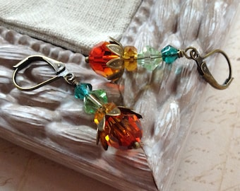 Fiery Orange and Blue Crystal and Brass Earrings