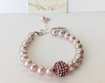 Flower Girl Gift - First Communion Gift - Pearl and Crystal Bracelet - First Communion Bracelet - Pearl Bracelet - Initial Bracelet B247