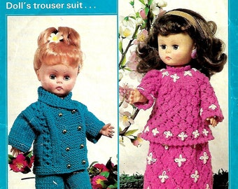 PATONS 1229 Vintage Doll Outfit Knitting Pattern PDF Instant Download