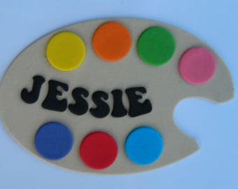 1 edible PERSONALISED NAME PAINT pallette cake topper decoration art artist painter age icing decorations wedding anniversary birthday