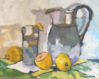 Lemon Garnish Abstract Still Life Oil Painting on Canvas