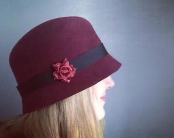 Handmade Wool Felt Cloche Hat With Flower
