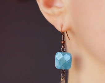 Angelite Earrings Gemstone Copper Earrings Light Blue Stone Earrings Blue Gem Earrings Square Stone Earrings Boho Earrings Gift for Mother