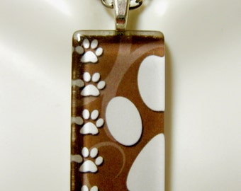 Paw print pendant in brown - DGP12-005