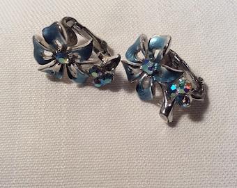 STAR Blue Clip On Earrings