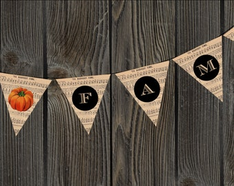 FAMILY Thanksgiving Harvest Music Bunting