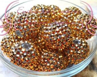 24mm Gold Rhinestone Beads Qty 4